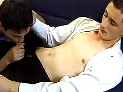 Twink throats his appealing partner and makes him cum