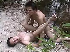 Neat Asian gays make fucking action in nature