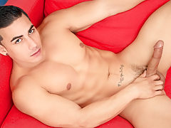 Topher keeps a strong grip on his rock rough vast dick