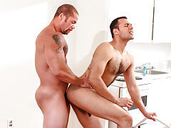 Matt eats out AJ's sweaty arse before AJ begs Matt to fuck him