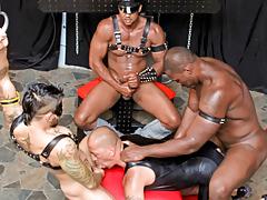 Master Aron orders his minions to groupie a fresh slut
