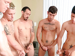 5 chaps gush spunk on a muffin that the last to spunk has to eat!