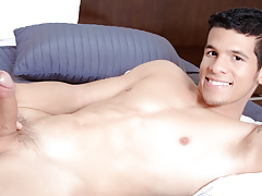 Lee stripped off & teases you, shows off his intense abs & thick cock