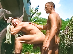 2 sticky soldiers receive tired of working & blow off some steam