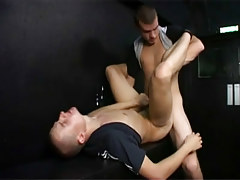 Horny hooligans have risky faggot fucking in a public stairwell in 4 video