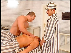 Prison boss orders kitchen boys to fuck in 1 episode