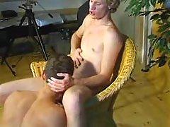 Blond gay guys do sip job in studio
