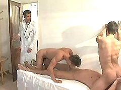 Cute twinks greedily suck colossal stick of doctor