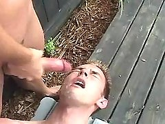 Sexy gay guy jizzes and eats sex cream outdoor