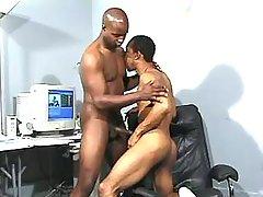 Narrow black anus plugged real hard