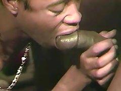 Gay shoves cock in tight ebon breach