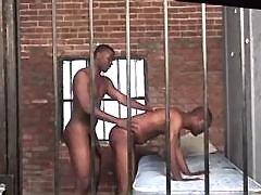 Beefy ebony faggot gets asshole boned