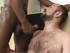 Hairy chap attains ball cream by ebony male