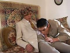 Cute man-lover sucks appetizing pride on sofa