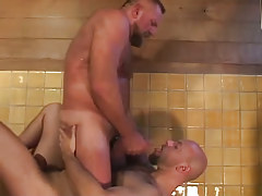 Bear gay guy swallows sticky jism in washroom