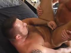 Mature bear faggot cums with 10-Pounder in his backdoor