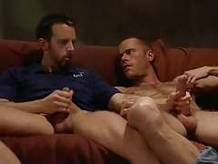 Horny bear gays jerk off on bed