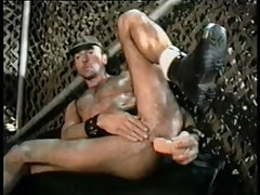 Hairy gay chap dildofucks and cums