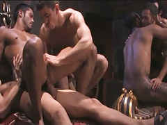 Interracial man-lovers extreme fuck in orgy
