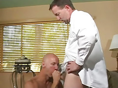 Bald homo greedily sucks appetizing pride