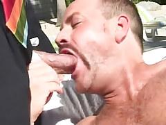 Bear gentleman chops bosses rod outdoor