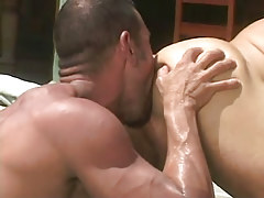 Bear dilf licks out constricted champs break