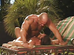 Hairy man-lover man fanatical jumps on cock in nature