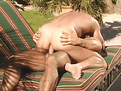 Muscle gay guy dilf rides hard stick outdoor